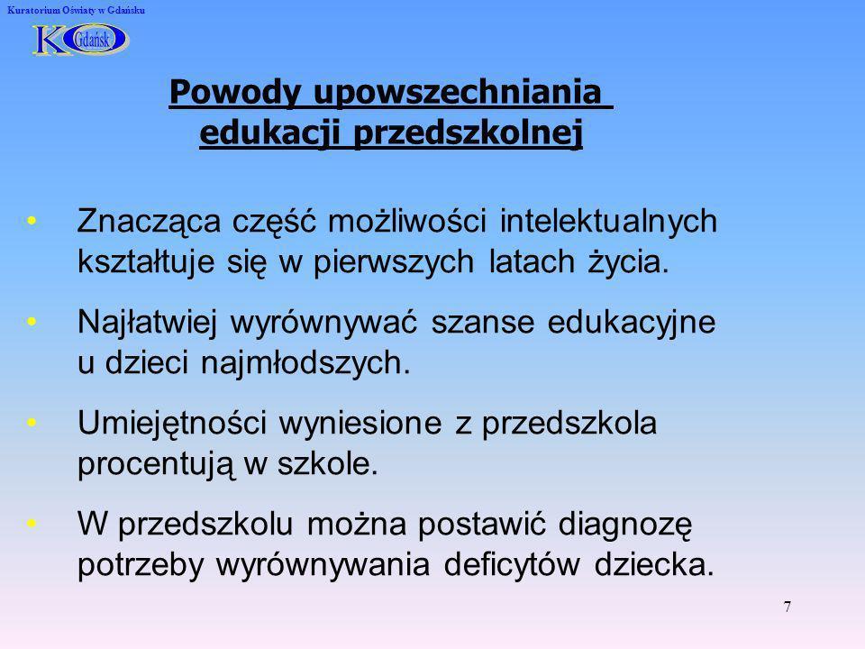 7 Kuratorium Oświaty w Gdańsku Powody upowszechniania edukacji przedszkolnej Znacząca część możliwości intelektualnych kształtuje się w pierwszych lat
