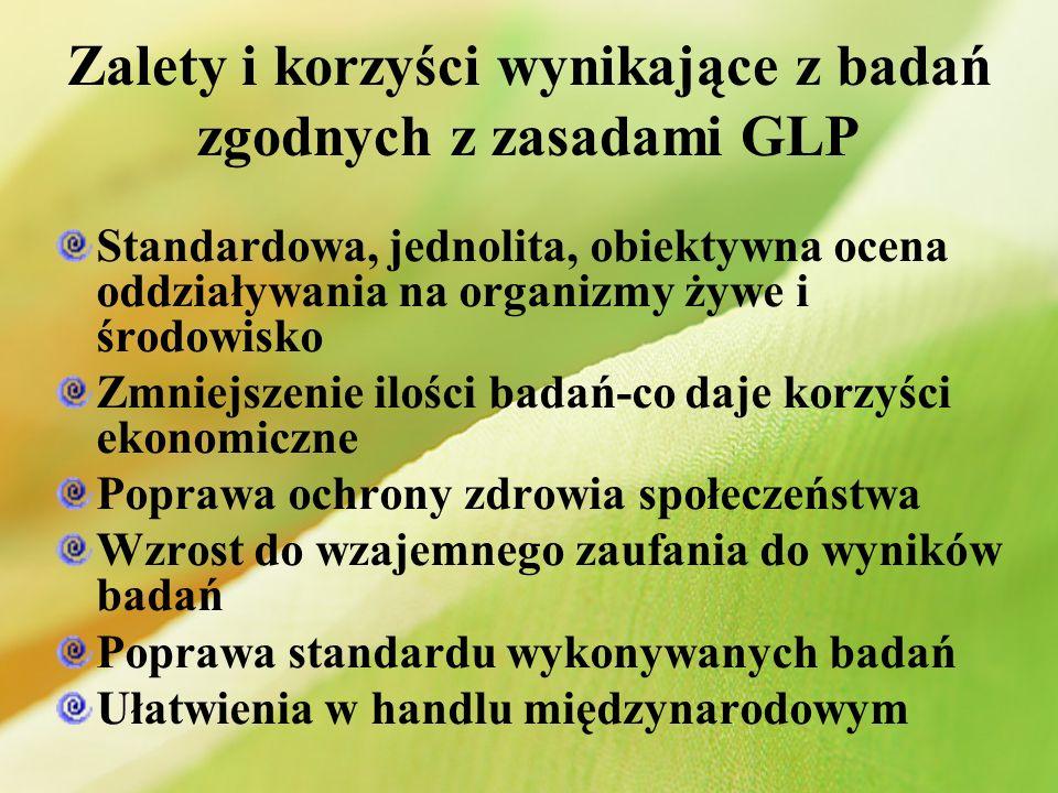 Zalety i korzyści wynikające z badań zgodnych z zasadami GLP Standardowa, jednolita, obiektywna ocena oddziaływania na organizmy żywe i środowisko Zmn