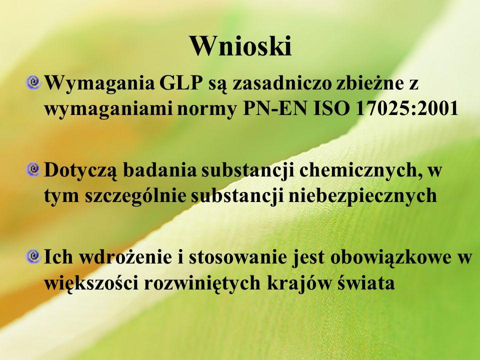 Wnioski Wymagania GLP są zasadniczo zbieżne z wymaganiami normy PN-EN ISO 17025:2001 Dotyczą badania substancji chemicznych, w tym szczególnie substan