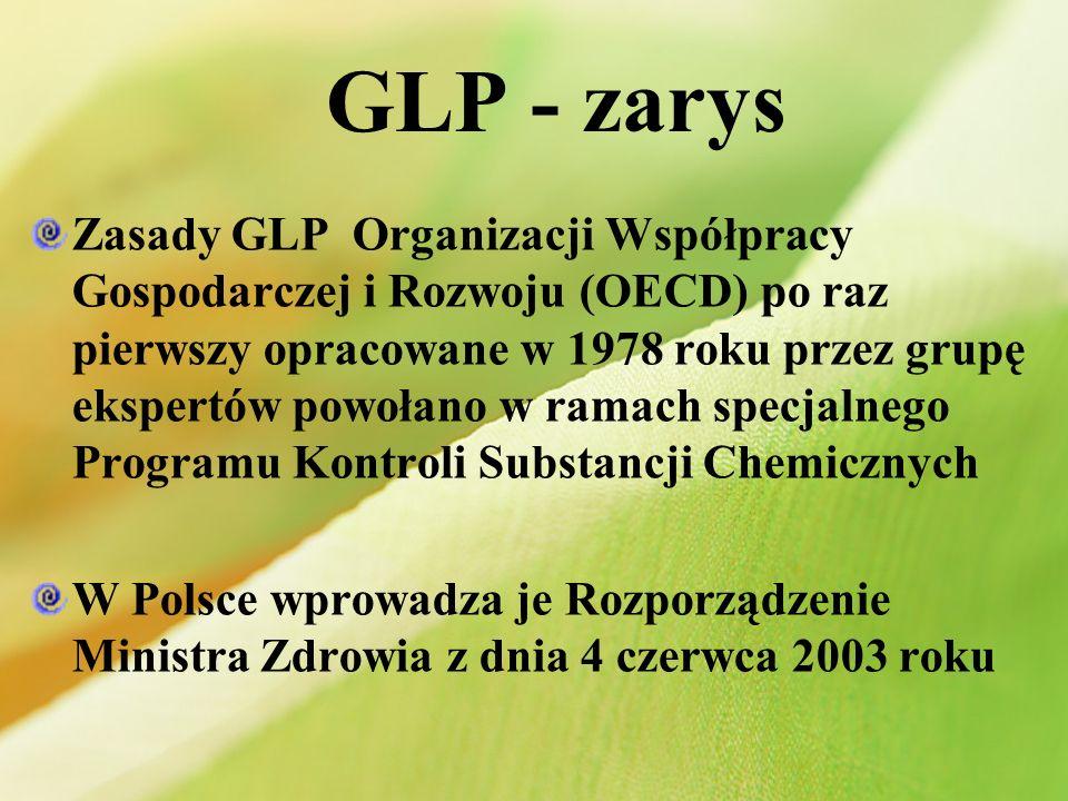 GLP - zarys Zasady GLP Organizacji Współpracy Gospodarczej i Rozwoju (OECD) po raz pierwszy opracowane w 1978 roku przez grupę ekspertów powołano w ra