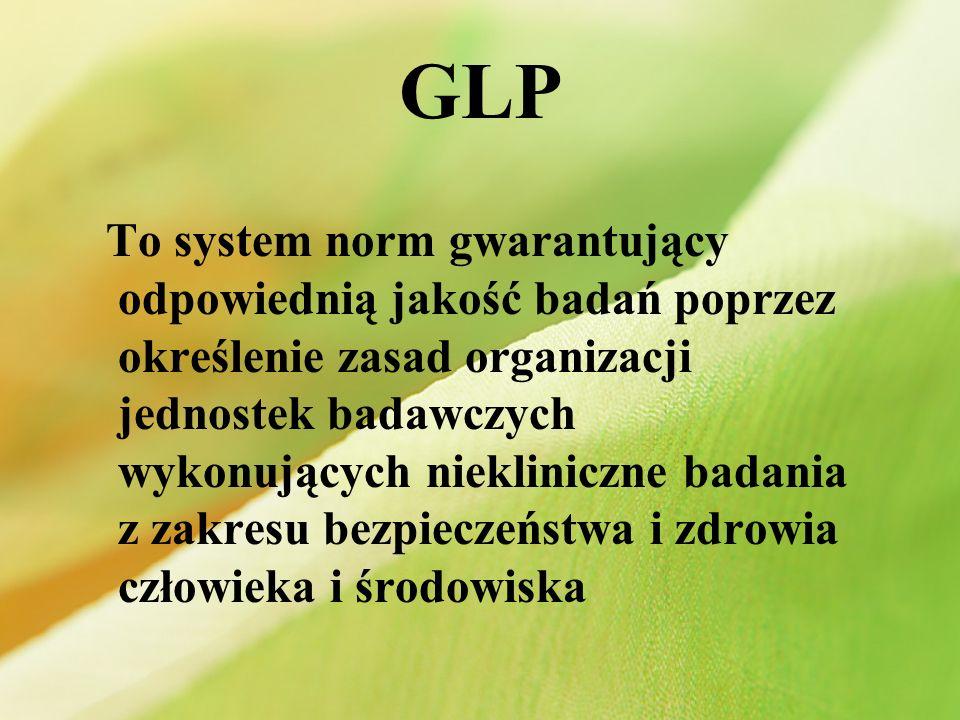 Zastosowanie GLP do jednostek badań Produkty farmaceutyczne Produkty kosmetyczne Produkty zawierające pestycydy Lekarstwa weterynaryjne Dodatki do żywności i pasz Chemikalia przemysłowe
