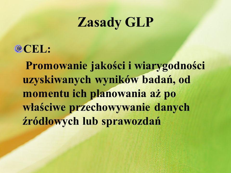 Weryfikacja spełnienia zasad GLP koncentruje się na: Zasobach Regułach prowadzenia badań Dokumentacji Program zapewnienia jakości