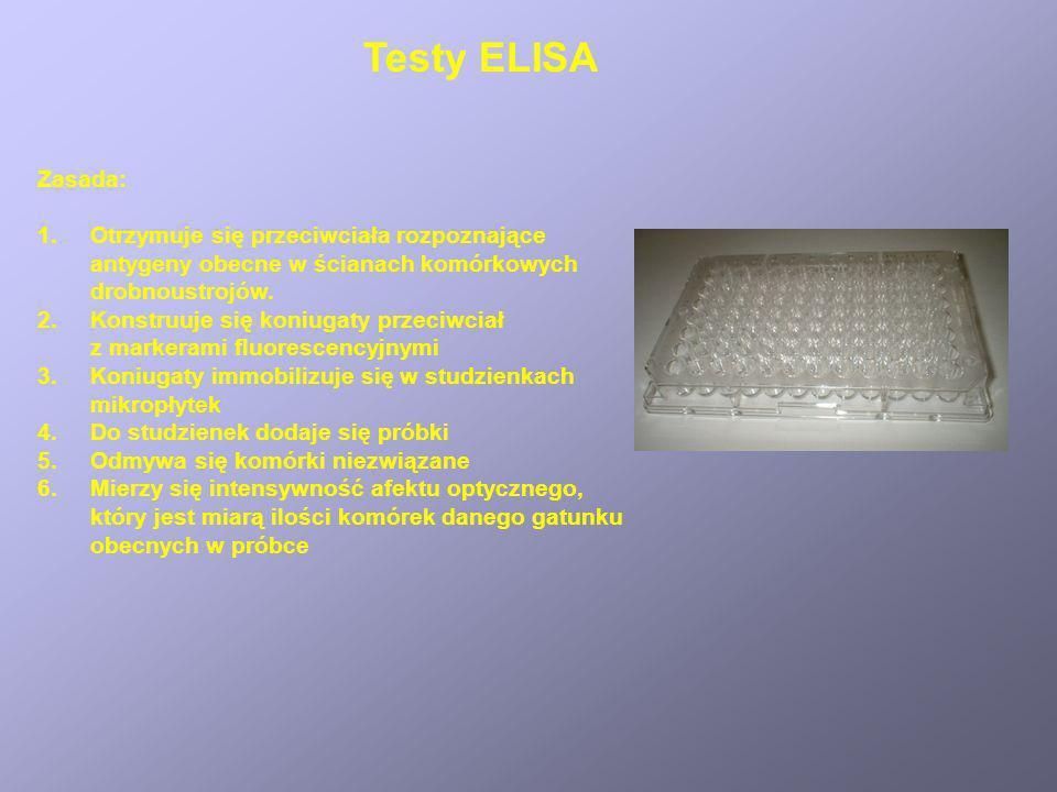 Testy ELISA Zasada: 1.Otrzymuje się przeciwciała rozpoznające antygeny obecne w ścianach komórkowych drobnoustrojów. 2.Konstruuje się koniugaty przeci