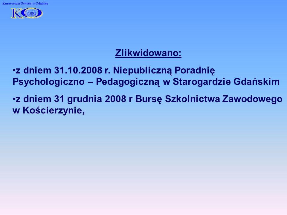 Kuratorium Oświaty w Gdańsku Zlikwidowano: z dniem 31.10.2008 r.