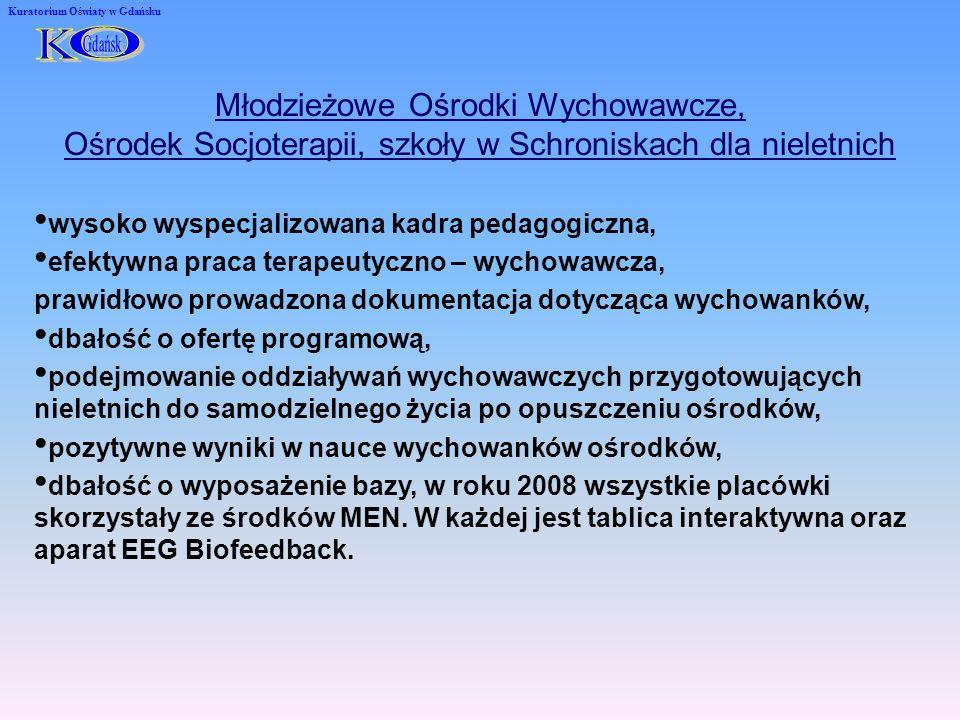 Kuratorium Oświaty w Gdańsku Młodzieżowe Ośrodki Wychowawcze, Ośrodek Socjoterapii, szkoły w Schroniskach dla nieletnich wysoko wyspecjalizowana kadra pedagogiczna, efektywna praca terapeutyczno – wychowawcza, prawidłowo prowadzona dokumentacja dotycząca wychowanków, dbałość o ofertę programową, podejmowanie oddziaływań wychowawczych przygotowujących nieletnich do samodzielnego życia po opuszczeniu ośrodków, pozytywne wyniki w nauce wychowanków ośrodków, dbałość o wyposażenie bazy, w roku 2008 wszystkie placówki skorzystały ze środków MEN.