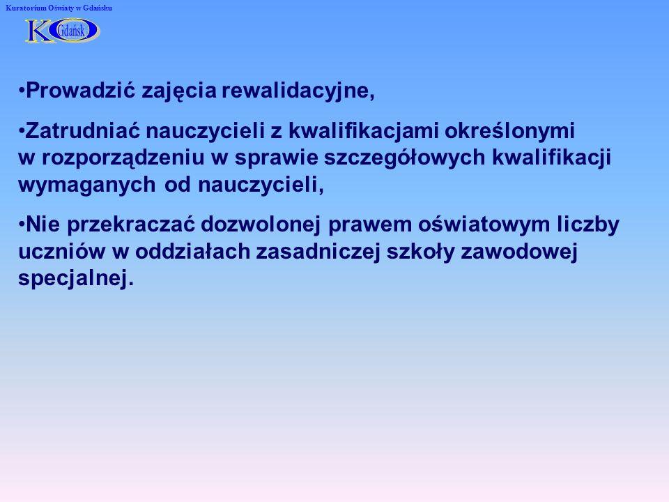 Kuratorium Oświaty w Gdańsku Prowadzić zajęcia rewalidacyjne, Zatrudniać nauczycieli z kwalifikacjami określonymi w rozporządzeniu w sprawie szczegółowych kwalifikacji wymaganych od nauczycieli, Nie przekraczać dozwolonej prawem oświatowym liczby uczniów w oddziałach zasadniczej szkoły zawodowej specjalnej.