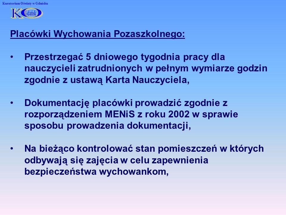Kuratorium Oświaty w Gdańsku Placówki Wychowania Pozaszkolnego: Przestrzegać 5 dniowego tygodnia pracy dla nauczycieli zatrudnionych w pełnym wymiarze godzin zgodnie z ustawą Karta Nauczyciela, Dokumentację placówki prowadzić zgodnie z rozporządzeniem MENiS z roku 2002 w sprawie sposobu prowadzenia dokumentacji, Na bieżąco kontrolować stan pomieszczeń w których odbywają się zajęcia w celu zapewnienia bezpieczeństwa wychowankom,