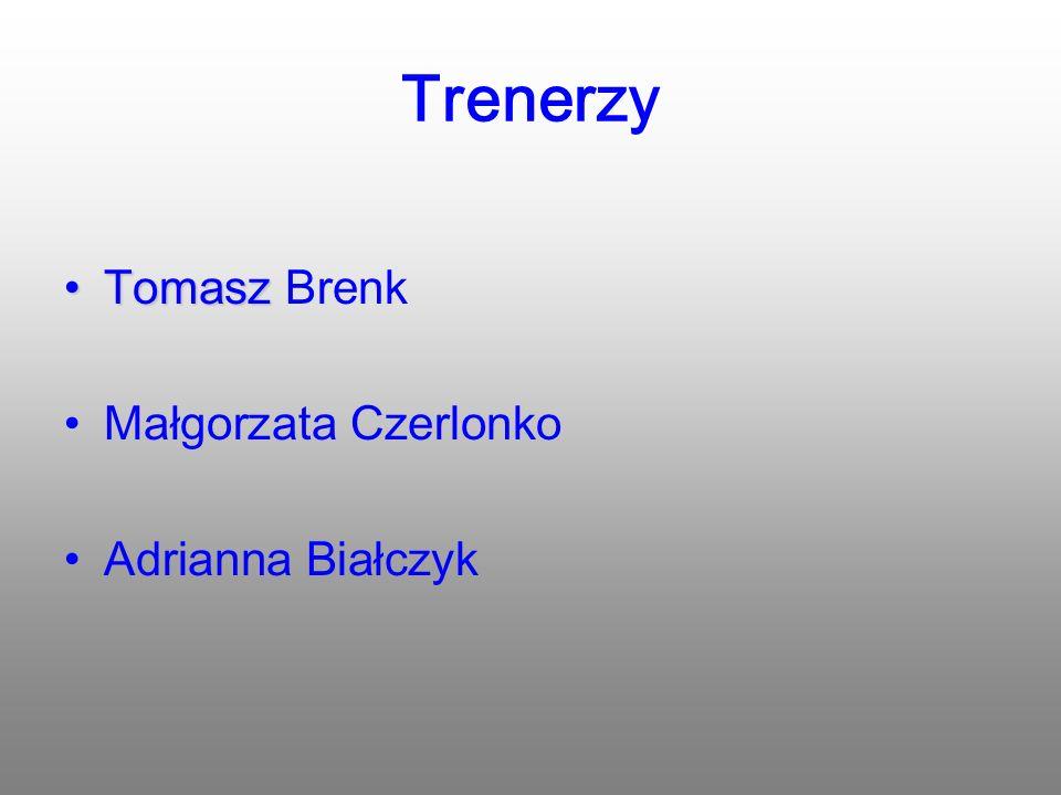 Trenerzy TomaszTomasz Brenk Małgorzata Czerlonko Adrianna Białczyk