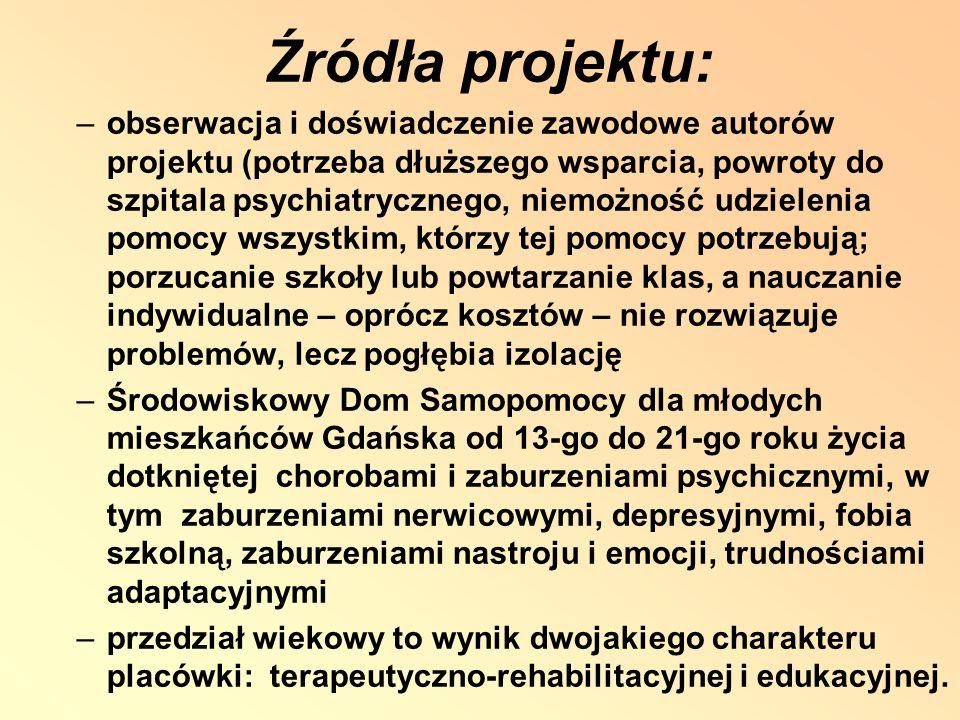Źródła projektu: –obserwacja i doświadczenie zawodowe autorów projektu (potrzeba dłuższego wsparcia, powroty do szpitala psychiatrycznego, niemożność udzielenia pomocy wszystkim, którzy tej pomocy potrzebują; porzucanie szkoły lub powtarzanie klas, a nauczanie indywidualne – oprócz kosztów – nie rozwiązuje problemów, lecz pogłębia izolację –Środowiskowy Dom Samopomocy dla młodych mieszkańców Gdańska od 13-go do 21-go roku życia dotkniętej chorobami i zaburzeniami psychicznymi, w tym zaburzeniami nerwicowymi, depresyjnymi, fobia szkolną, zaburzeniami nastroju i emocji, trudnościami adaptacyjnymi –przedział wiekowy to wynik dwojakiego charakteru placówki: terapeutyczno-rehabilitacyjnej i edukacyjnej.