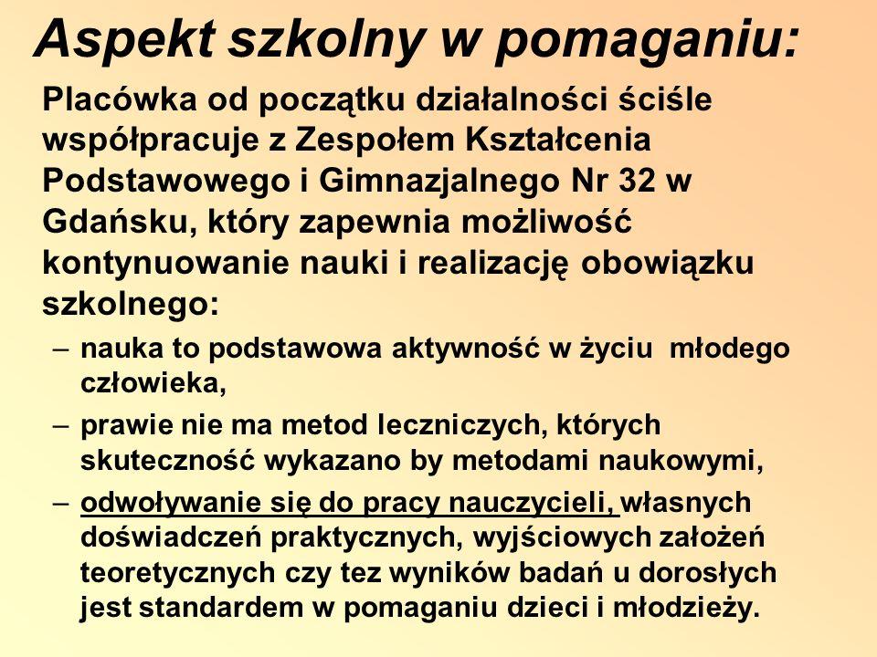 Aspekt szkolny w pomaganiu: Placówka od początku działalności ściśle współpracuje z Zespołem Kształcenia Podstawowego i Gimnazjalnego Nr 32 w Gdańsku,