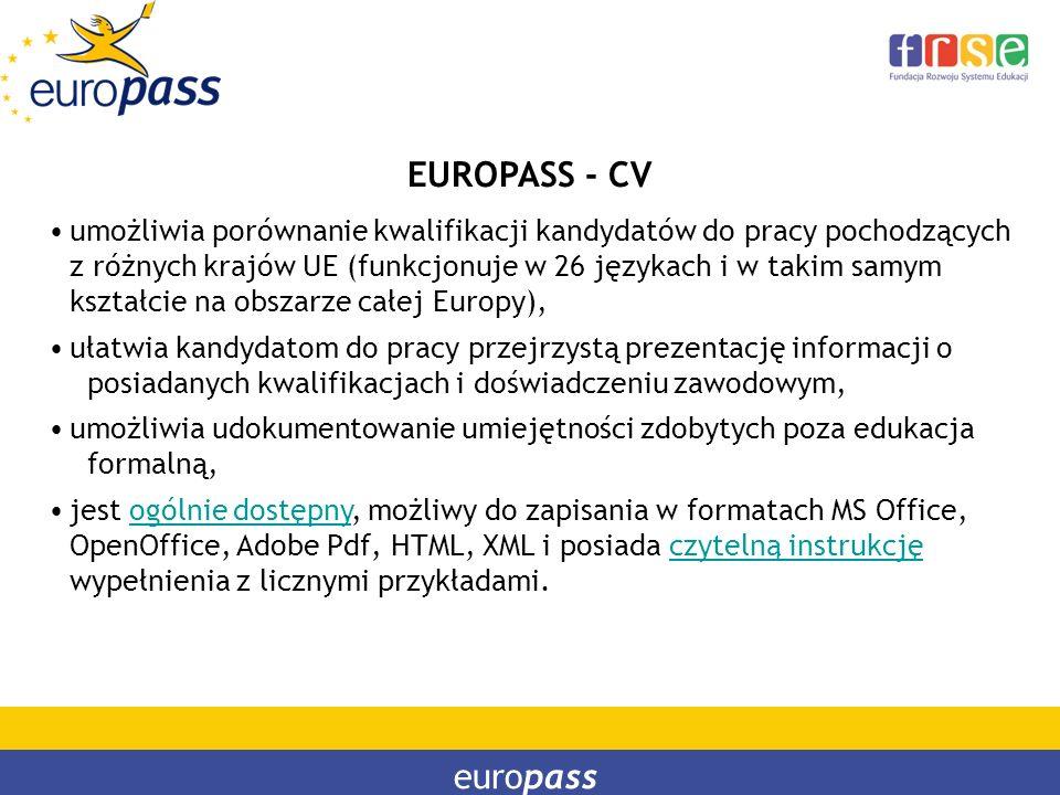 EUROPASS - CV umożliwia porównanie kwalifikacji kandydatów do pracy pochodzących z różnych krajów UE (funkcjonuje w 26 językach i w takim samym kształ
