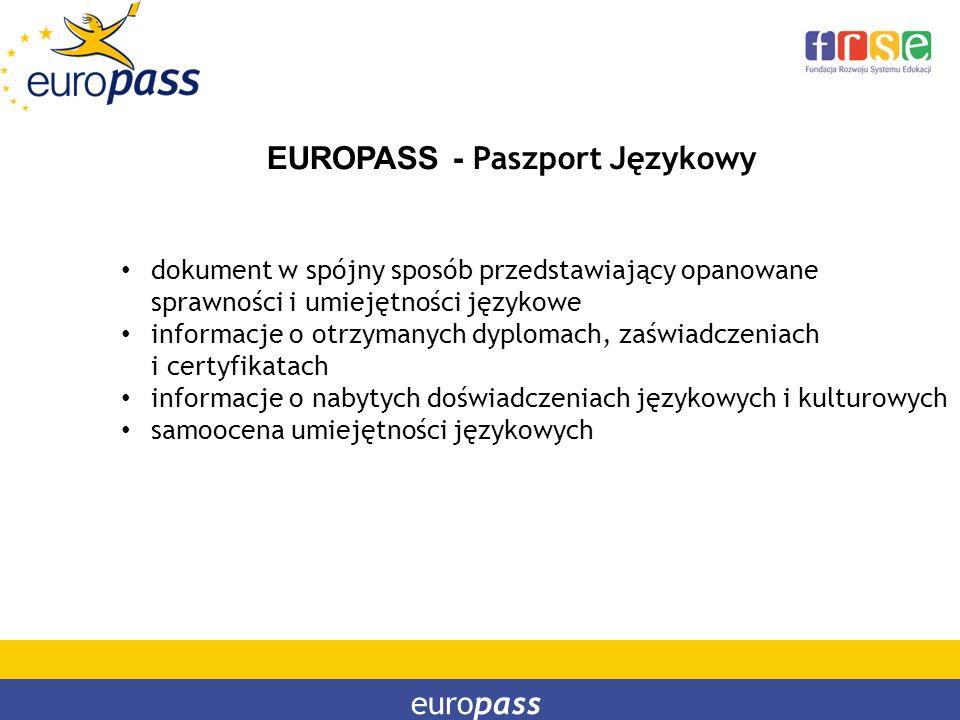 EUROPASS - Paszport Językowy dokument w spójny sposób przedstawiający opanowane sprawności i umiejętności językowe informacje o otrzymanych dyplomach,