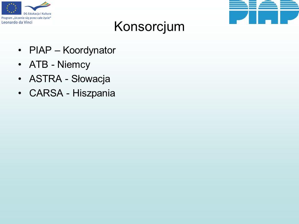 Konsorcjum PIAP – Koordynator ATB - Niemcy ASTRA - Słowacja CARSA - Hiszpania