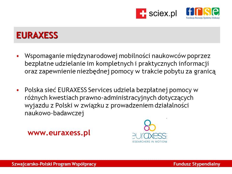Szwajcarsko-Polski Program Współpracy Fundusz Stypendialny EURAXESS Wspomaganie międzynarodowej mobilności naukowców poprzez bezpłatne udzielanie im kompletnych i praktycznych informacji oraz zapewnienie niezbędnej pomocy w trakcie pobytu za granicą Polska sieć EURAXESS Services udziela bezpłatnej pomocy w różnych kwestiach prawno-administracyjnych dotyczących wyjazdu z Polski w związku z prowadzeniem działalności naukowo-badawczej www.euraxess.pl