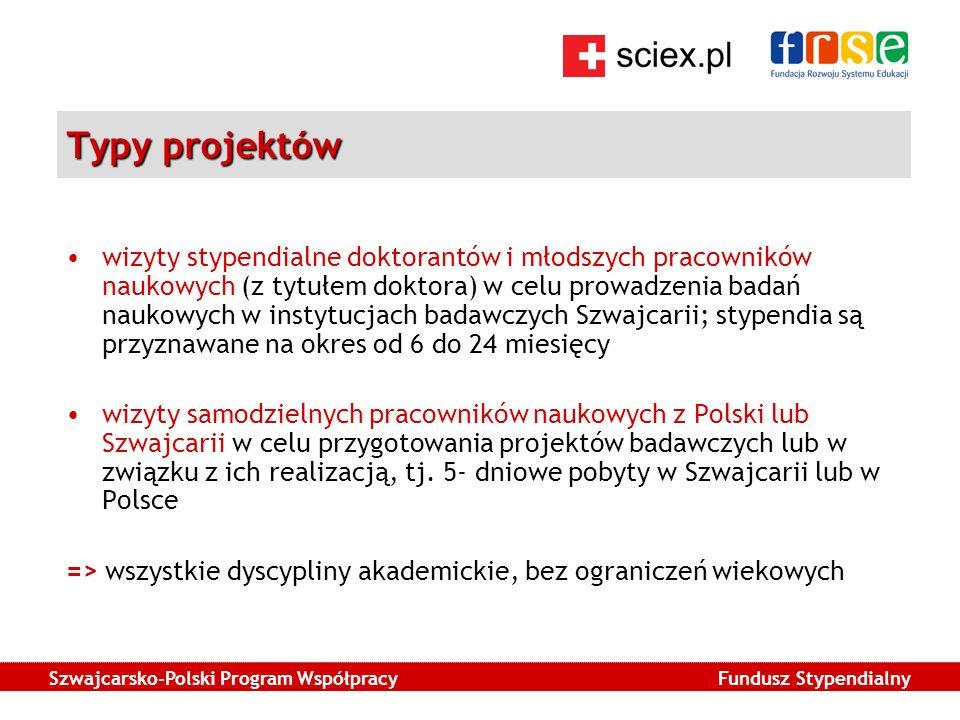 Szwajcarsko-Polski Program Współpracy Fundusz Stypendialny Typy projektów wizyty stypendialne doktorantów i młodszych pracowników naukowych (z tytułem doktora) w celu prowadzenia badań naukowych w instytucjach badawczych Szwajcarii; stypendia są przyznawane na okres od 6 do 24 miesięcy wizyty samodzielnych pracowników naukowych z Polski lub Szwajcarii w celu przygotowania projektów badawczych lub w związku z ich realizacją, tj.