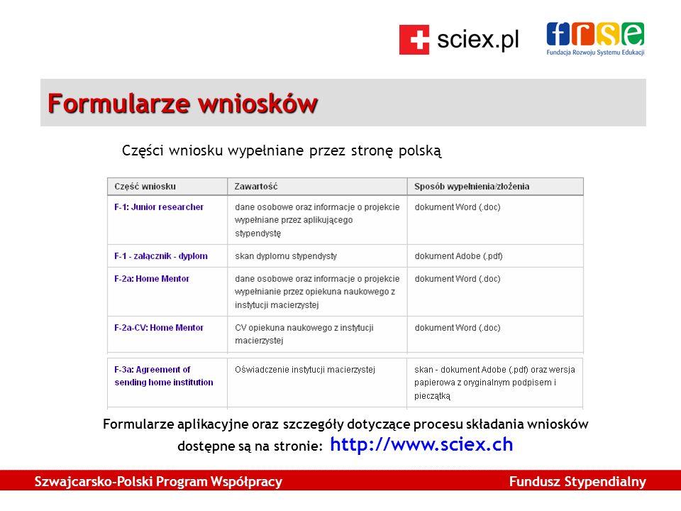 Szwajcarsko-Polski Program Współpracy Fundusz Stypendialny Formularze wniosków Części wniosku wypełniane przez stronę polską Formularze aplikacyjne oraz szczegóły dotyczące procesu składania wniosków dostępne są na stronie: http://www.sciex.ch