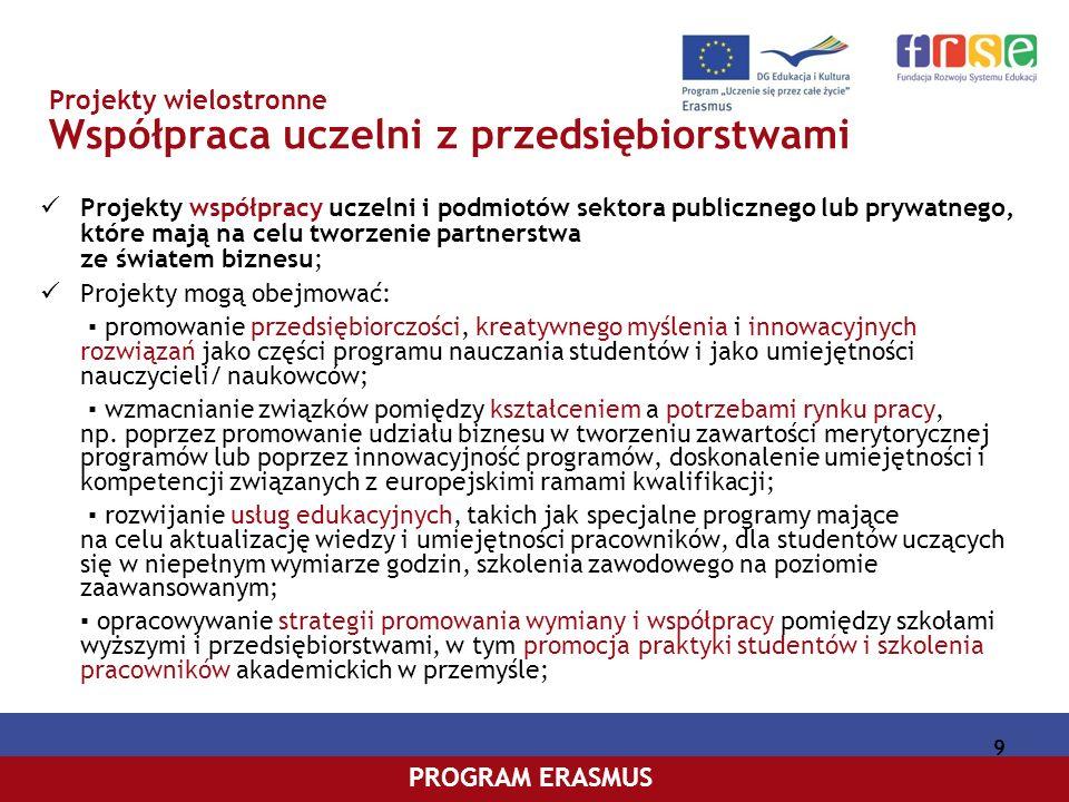PROGRAM COMENIUSPROGRAM ERASMUS 10 Projekty wielostronne Wirtualne kampusy Projekty współpracy szkół wyższych i podmiotów sektora publicznego lub prywatnego, które mają na celu wprowadzanie innowacyjnych, opartych na technologiach komunikacji i informacji (TIK), treści, usług, metod pedagogicznych i rozwiązań praktycznych na potrzeby uczenia się przez całe życie, wspomaganych przez trwałe modele organizacyjne, edukacyjne i ekonomiczne; Projekty mogą obejmować: opracowywanie i upowszechnianie na poziomie europejskim rozwiązań, które można przenosić dla celów tworzenia i funkcjonowania wirtualnych kampusów; tworzenie otwartych zasobów edukacyjnych, uregulowanie kwestii organizacyjnych, technicznych i jakościowych w sposób umożliwiający wymianę treści/zawartości i zapewniający łatwy dostęp do nich na poziomie europejskim; opracowywanie i uaktualnianie zintegrowanych programów obejmujących pełen cykl studiów (na poziomie licencjackim/inżynierskim, magisterskim lub doktoranckim) i prowadzących do uzyskania uznanego podwójnego lub wspólnego dyplomu/ tytułu/stopnia,w których są stosowane narzędzia i usługi TIK, aby umożliwić wirtualną mobilność studentów i pracowników; promowanie współpracy i wymiany doświadczenia o charakterze strategicznym pomiędzy decydentami w dziedzinie tworzenia wirtualnych kampusów;