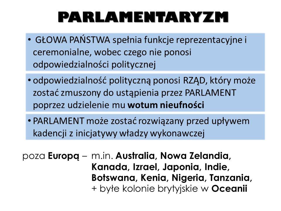 PARLAMENTARYZM Rozbieżności w ramach parlamentaryzmu: RELACJE POMIĘDZY LEGISLATYWĄ I EGZEKUTYWĄ system dwupartyjny system wielopartyjny PRZEWAGA EGZEKUTYWY (system gabinetowo-parlamentarny) PARLAMENT legitymizuje działania rządu WOTUM NIEUFNOŚCI niemal nie udzielane PRZEWAGA LEGISLATYWY (system parlamentarno-gabinetowy) [WB, Malta oraz Grecja, Niemcy, Irlandia, Hiszpania] wzrost znaczenia komisji parlamentarnych (PARLAMENTARYZM KOMITETOWY) [Włochy, Szwecja, Dania, Norwegia, kraje Europy Środkowej i Środkowo-Wschodniej]