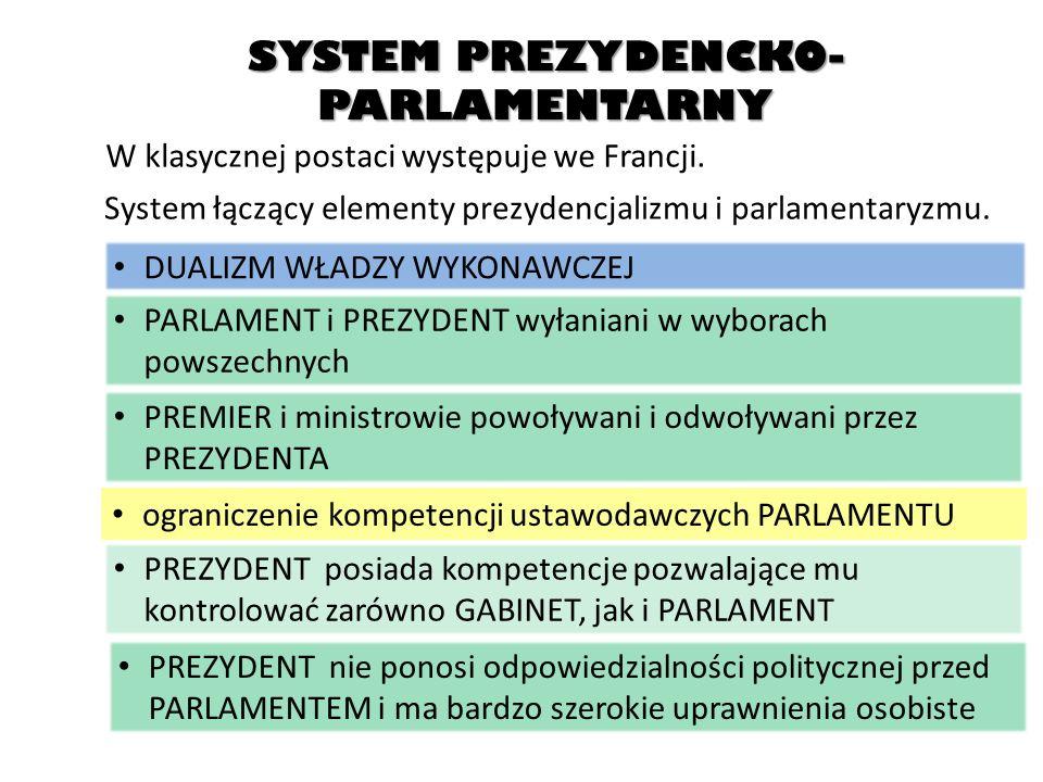 SYSTEM PREZYDENCKO- PARLAMENTARNY W klasycznej postaci występuje we Francji. System łączący elementy prezydencjalizmu i parlamentaryzmu. DUALIZM WŁADZ