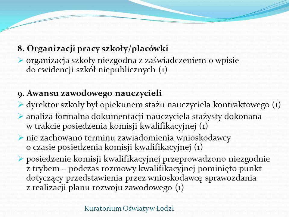 8. Organizacji pracy szkoły/placówki organizacja szkoły niezgodna z zaświadczeniem o wpisie do ewidencji szkół niepublicznych (1) 9. Awansu zawodowego