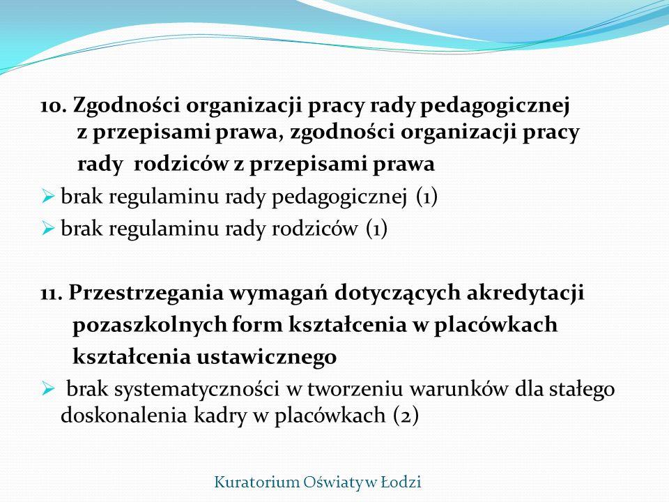 10. Zgodności organizacji pracy rady pedagogicznej z przepisami prawa, zgodności organizacji pracy rady rodziców z przepisami prawa brak regulaminu ra