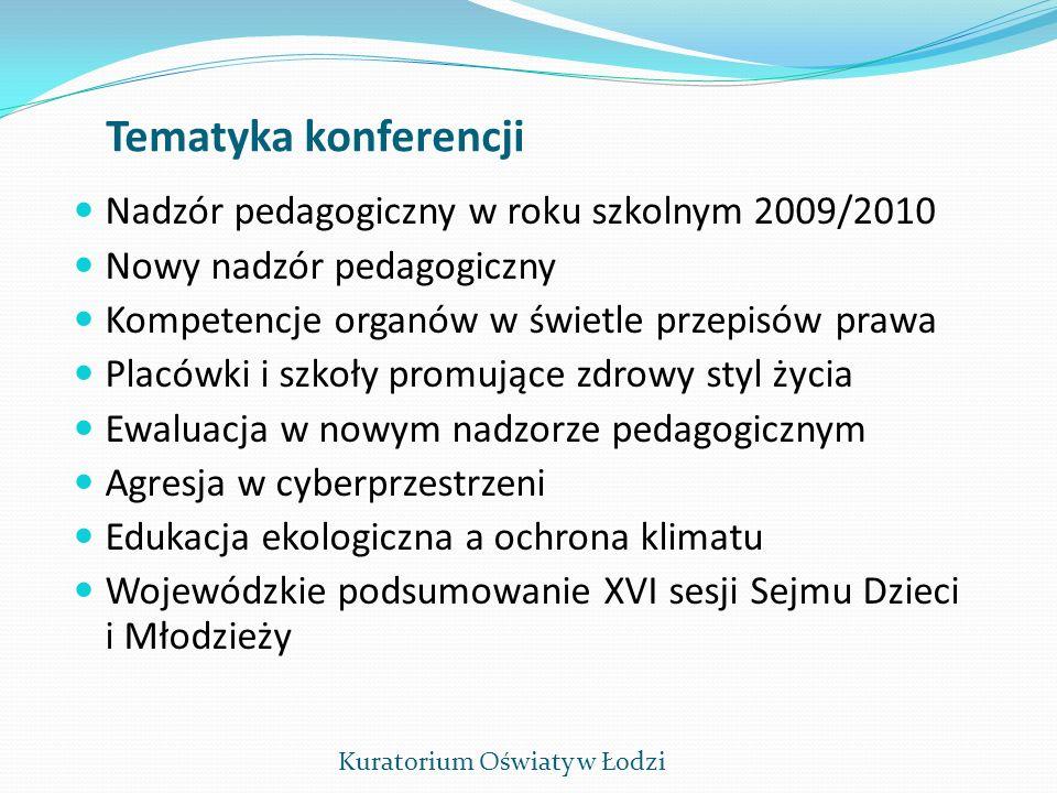 Tematyka konferencji Nadzór pedagogiczny w roku szkolnym 2009/2010 Nowy nadzór pedagogiczny Kompetencje organów w świetle przepisów prawa Placówki i s
