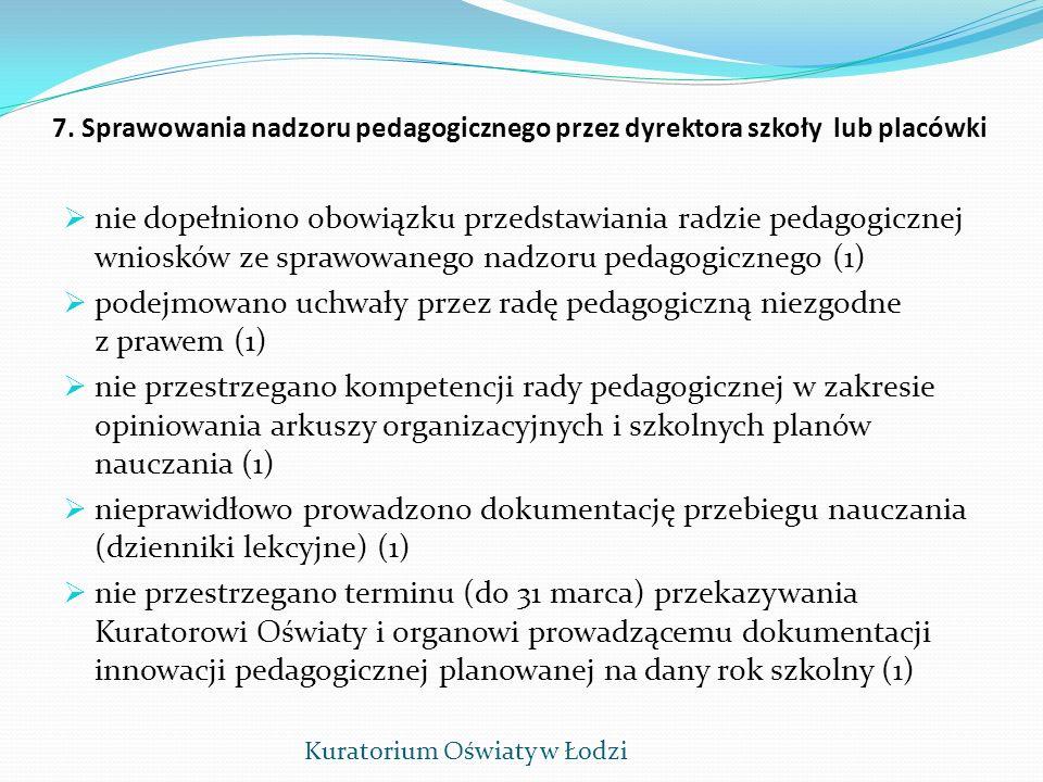 7. Sprawowania nadzoru pedagogicznego przez dyrektora szkoły lub placówki nie dopełniono obowiązku przedstawiania radzie pedagogicznej wniosków ze spr