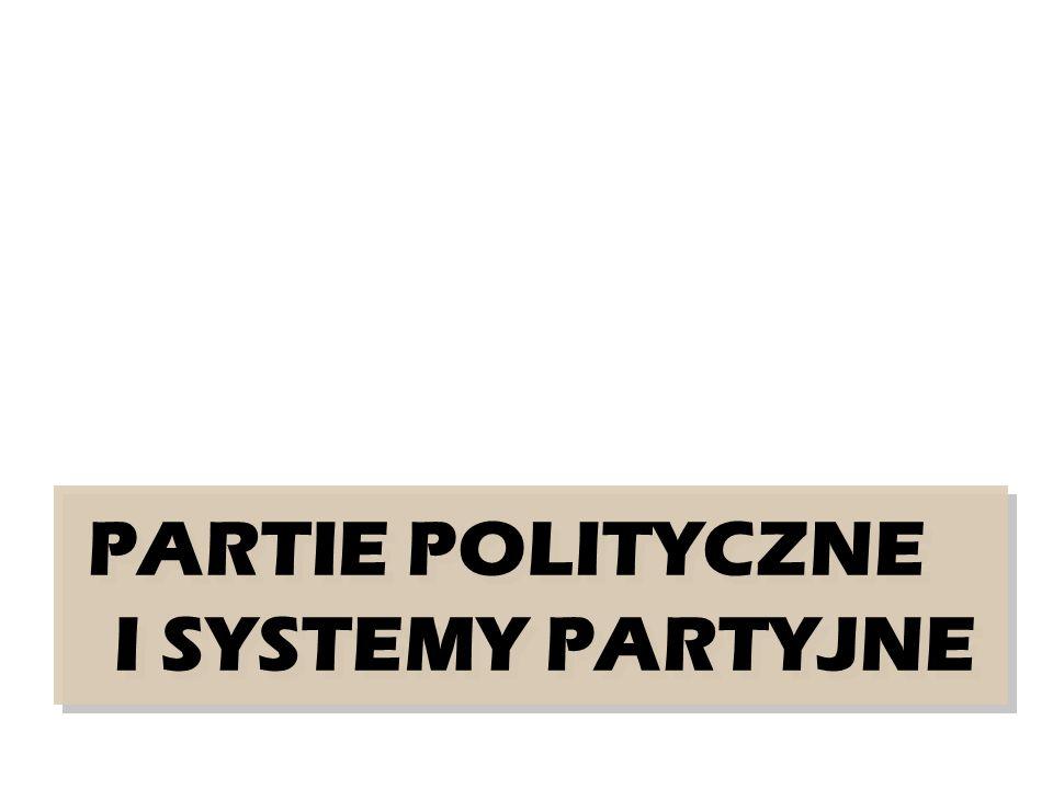 PARTIE POLITYCZNE I SYSTEMY PARTYJNE PARTIE POLITYCZNE I SYSTEMY PARTYJNE