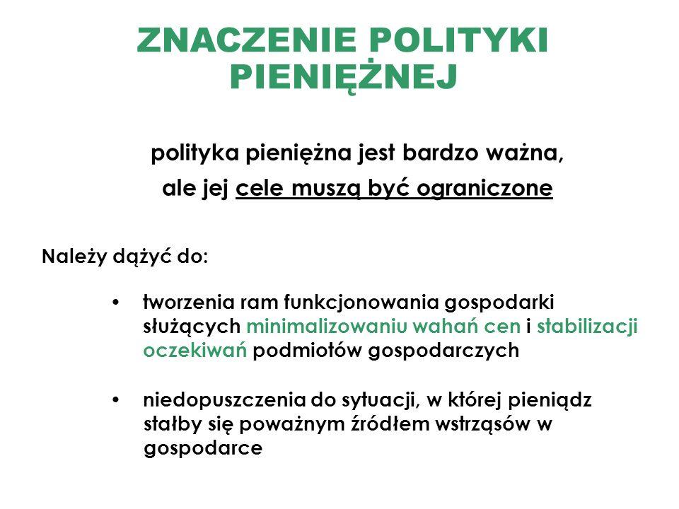 Należy dążyć do: ZNACZENIE POLITYKI PIENIĘŻNEJ polityka pieniężna jest bardzo ważna, ale jej cele muszą być ograniczone tworzenia ram funkcjonowania g