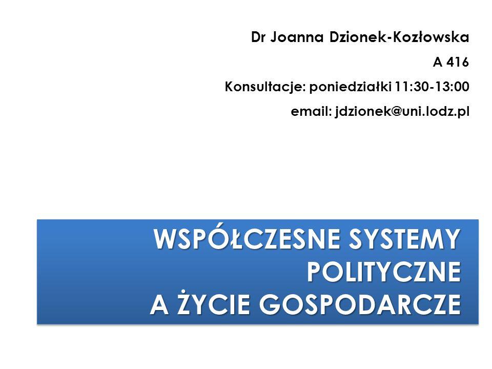 WSPÓŁCZESNE SYSTEMY POLITYCZNE A ŻYCIE GOSPODARCZE WSPÓŁCZESNE SYSTEMY POLITYCZNE A ŻYCIE GOSPODARCZE Dr Joanna Dzionek-Kozłowska A 416 Konsultacje: p