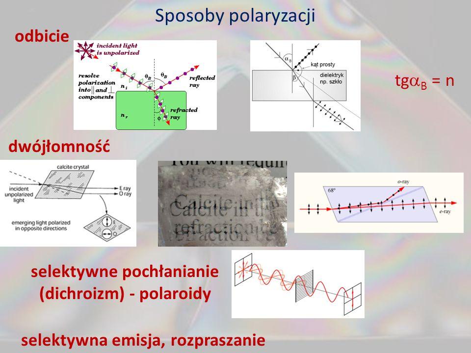Sposoby polaryzacji odbicie tg B = n dwójłomność selektywne pochłanianie (dichroizm) - polaroidy selektywna emisja, rozpraszanie