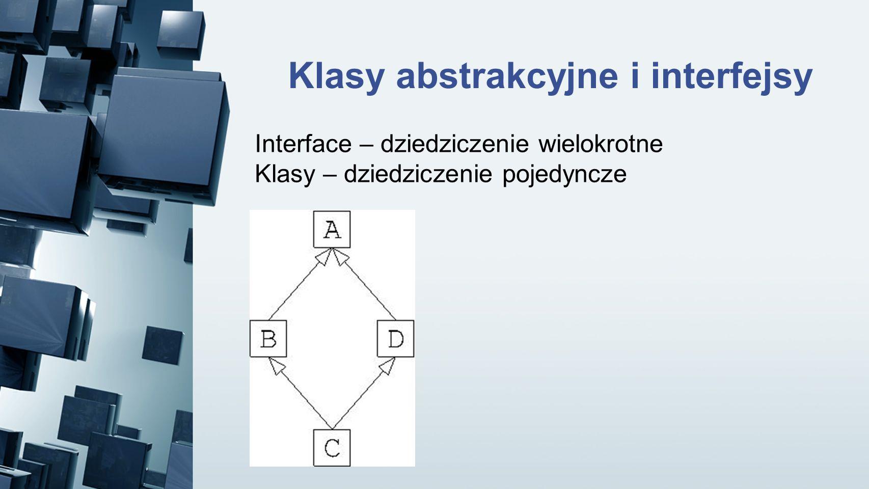 Klasy abstrakcyjne i interfejsy Interface – dziedziczenie wielokrotne Klasy – dziedziczenie pojedyncze
