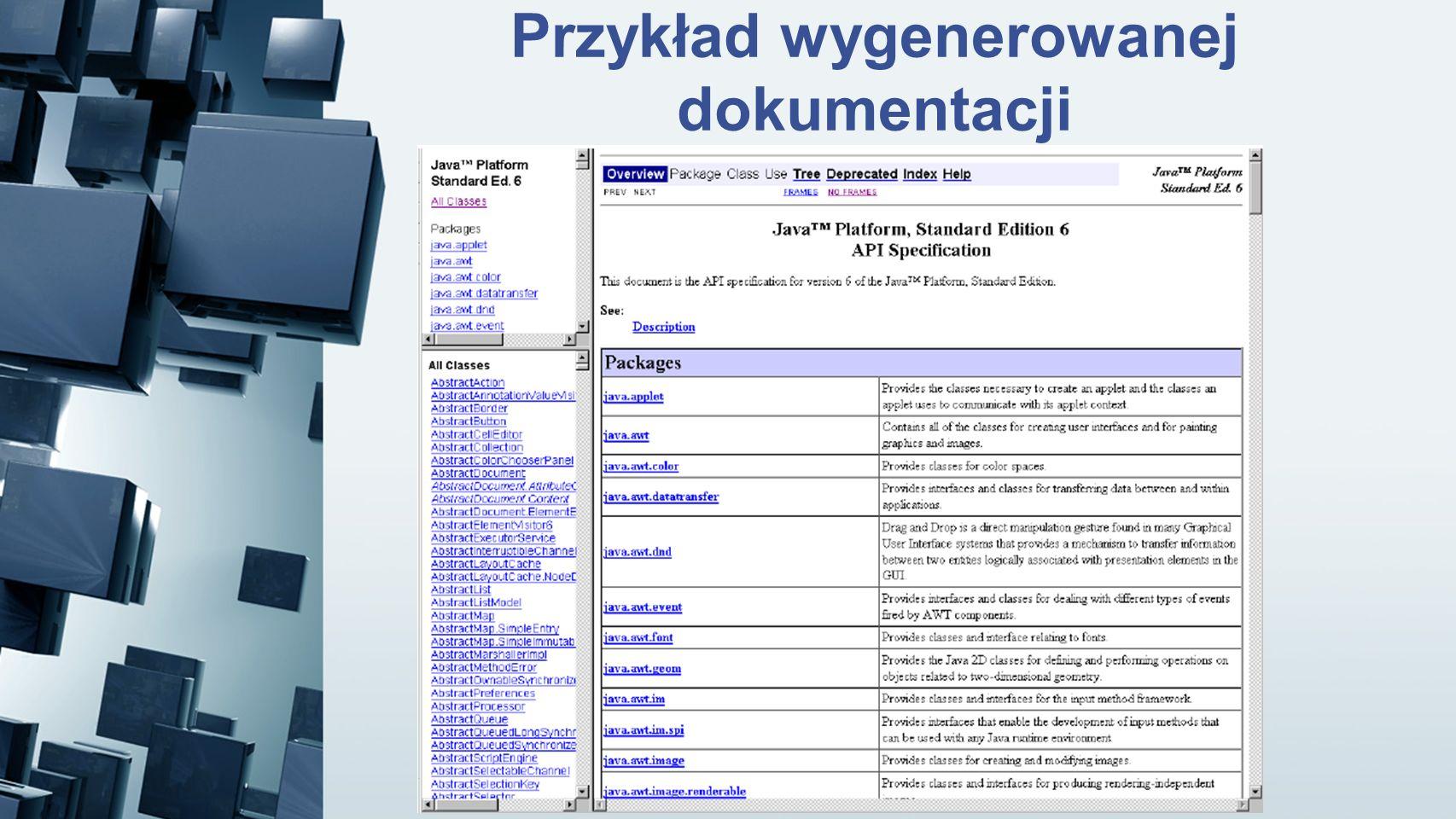 Przykład wygenerowanej dokumentacji