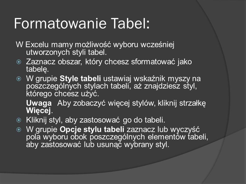 Formatowanie Tabel: W Excelu mamy możliwość wyboru wcześniej utworzonych styli tabel. Zaznacz obszar, który chcesz sformatować jako tabelę. W grupie S