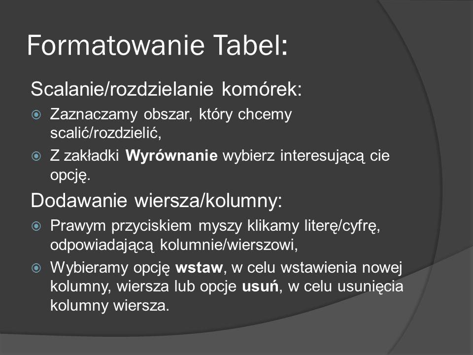 Formatowanie Tabel: Scalanie/rozdzielanie komórek: Zaznaczamy obszar, który chcemy scalić/rozdzielić, Z zakładki Wyrównanie wybierz interesującą cie o