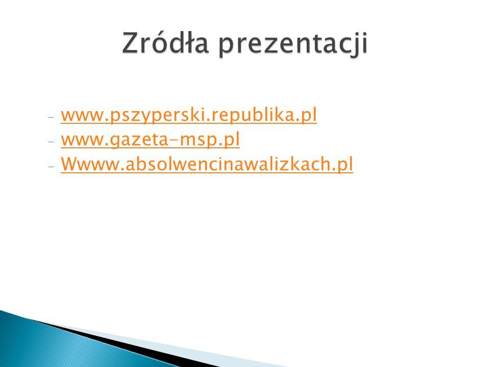 - www.pszyperski.republika.pl www.pszyperski.republika.pl - www.gazeta-msp.pl www.gazeta-msp.pl - Wwww.absolwencinawalizkach.pl Wwww.absolwencinawalizkach.pl