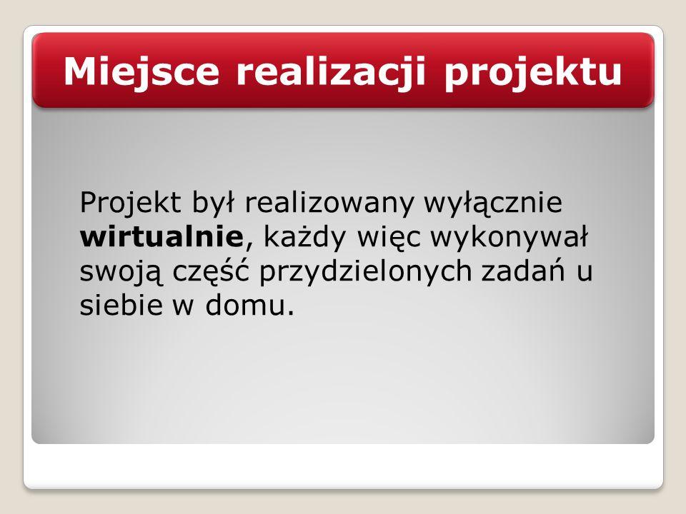 Miejsce realizacji projektu Projekt był realizowany wyłącznie wirtualnie, każdy więc wykonywał swoją część przydzielonych zadań u siebie w domu.