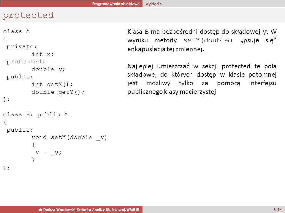Programowanie obiektowe Wykład 6 dr Dariusz Wardowski, Katedra Analizy Nieliniowej, WMiI UŁ 8/14 protected class A { private: int x; protected: double y; public: int getX(); double getY(); }; class B: public A { public: void setY(double _y) { y = _y; } }; Klasa B ma bezpośredni dostęp do składowej y.