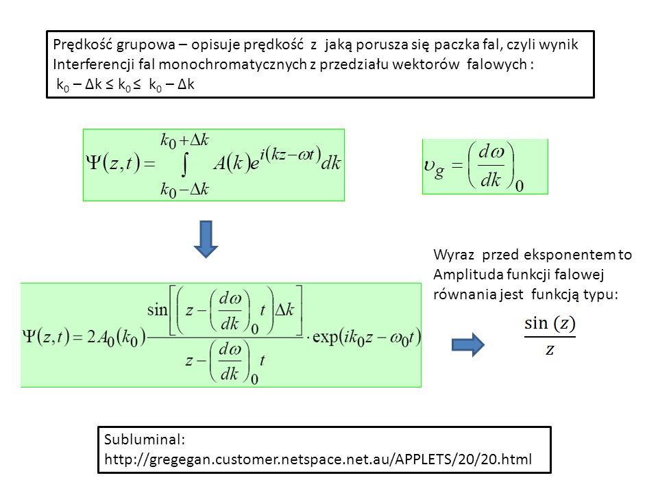Prędkość grupowa – opisuje prędkość z jaką porusza się paczka fal, czyli wynik Interferencji fal monochromatycznych z przedziału wektorów falowych : k