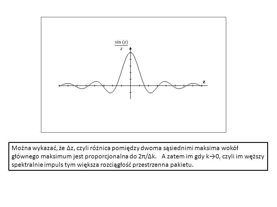 Można wykazać, że Δz, czyli różnica pomiędzy dwoma sąsiednimi maksima wokół głównego maksimum jest proporcjonalna do 2π/Δk. A zatem im gdy k0, czyli i