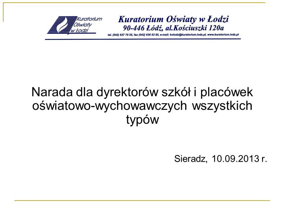 Informacje ogólne Delegatura Kuratorium Oświaty w Sieradzu w roku szkolnym 2012/2013 obejmowała nadzorem pedagogicznym 663 szkół i placówek, które funkcjonują na terenie 7 powiatów: łaskiego, pajęczańskiego, poddębickiego, sieradzkiego, wieluńskiego, wieruszowskiego i zduńskowolskiego.