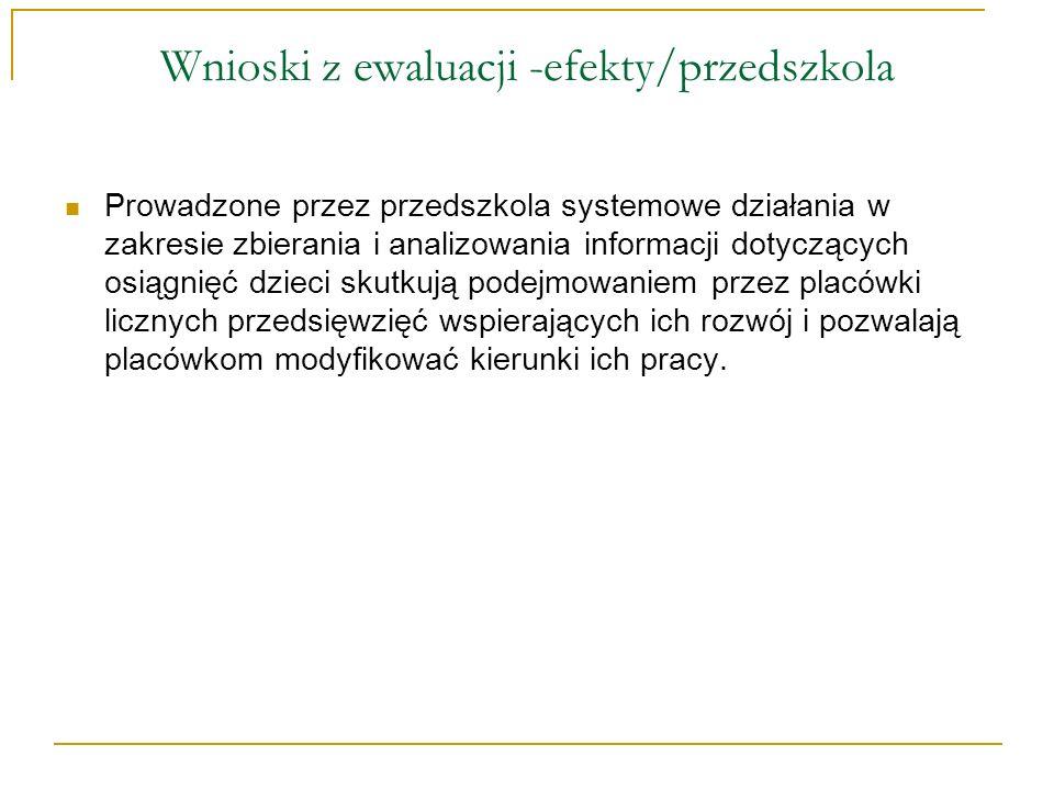 Wnioski z ewaluacji -efekty/przedszkola Prowadzone przez przedszkola systemowe działania w zakresie zbierania i analizowania informacji dotyczących os