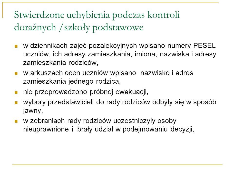 Stwierdzone uchybienia podczas kontroli doraźnych /szkoły podstawowe w dziennikach zajęć pozalekcyjnych wpisano numery PESEL uczniów, ich adresy zamie