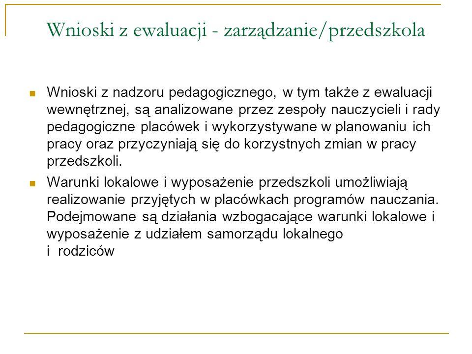 Wnioski z ewaluacji - zarządzanie/przedszkola Rozpiętość wiekowa dzieci (od 3 do 6 lat) w jednym oddziale i brak pomocy nauczyciela, zwłaszcza w małych przedszkolach, utrudniają realizację procesu wychowawczo- dydaktycznego.