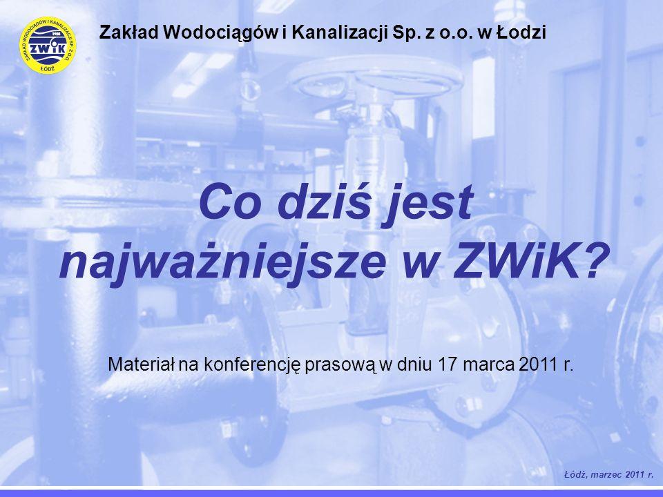Co dziś jest najważniejsze w ZWiK? Łódź, marzec 2011 r. Zakład Wodociągów i Kanalizacji Sp. z o.o. w Łodzi Materiał na konferencję prasową w dniu 17 m
