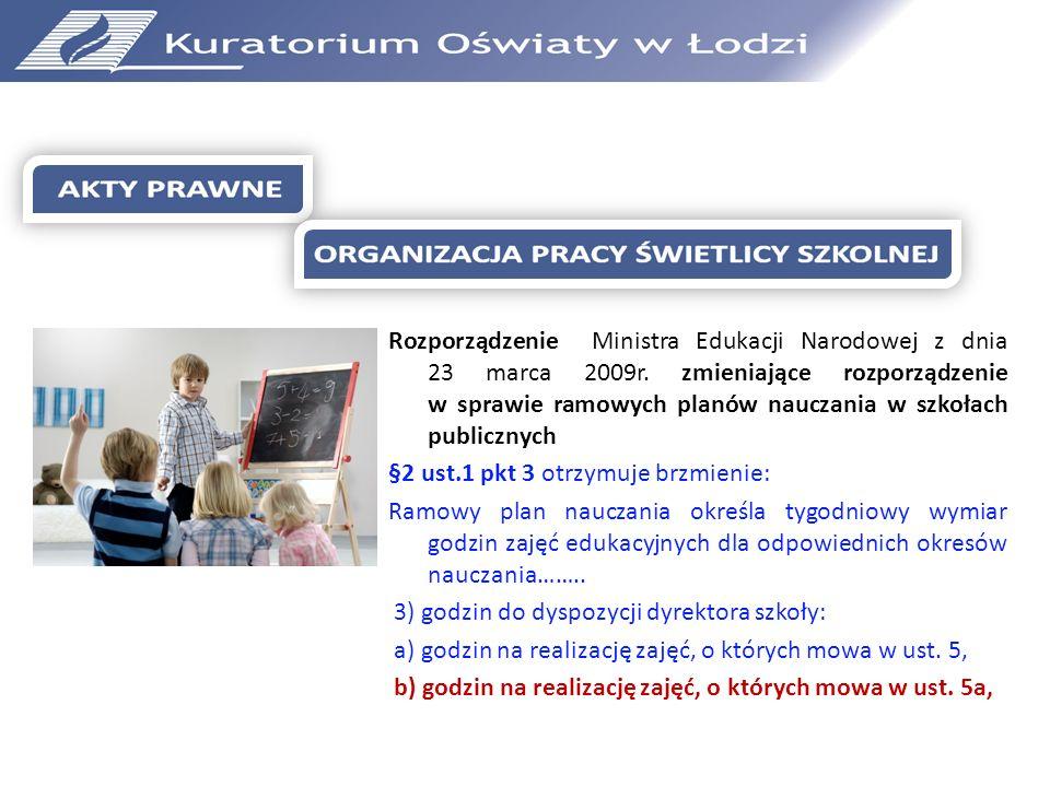 Rozporządzenie Ministra Edukacji Narodowej z dnia 23 marca 2009r. zmieniające rozporządzenie w sprawie ramowych planów nauczania w szkołach publicznyc