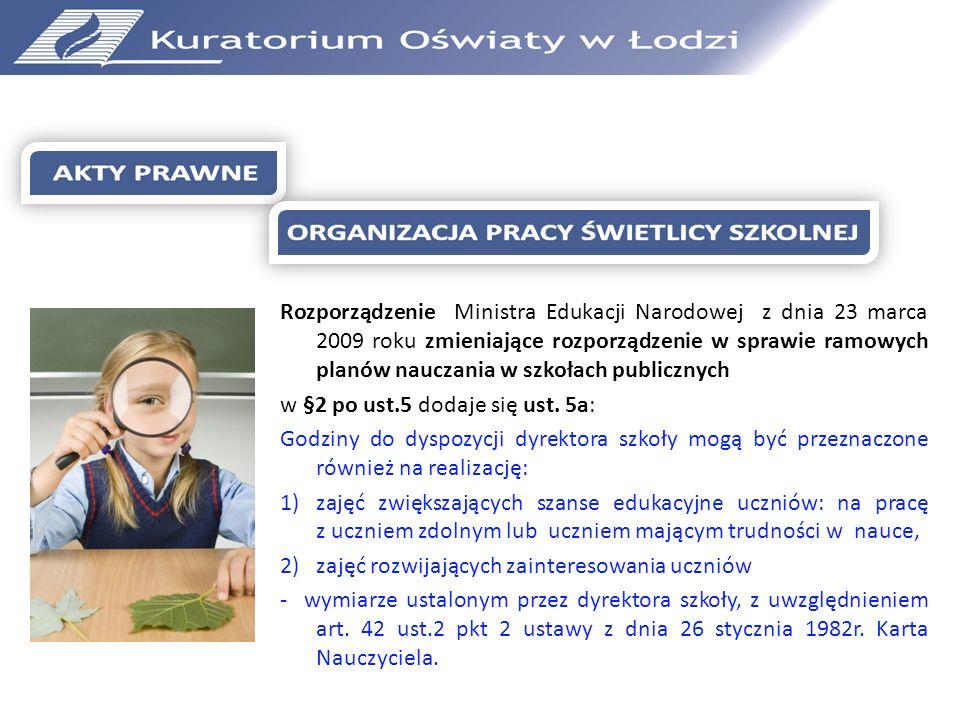 Rozporządzenie Ministra Edukacji Narodowej z dnia 23 marca 2009 roku zmieniające rozporządzenie w sprawie ramowych planów nauczania w szkołach publicz