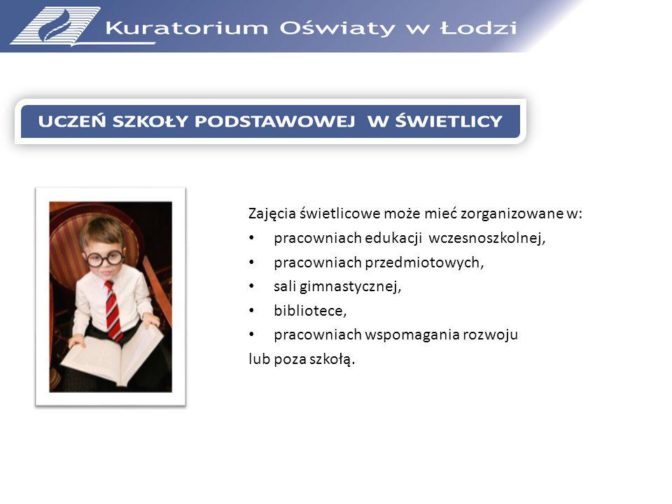 Zajęcia świetlicowe może mieć zorganizowane w: pracowniach edukacji wczesnoszkolnej, pracowniach przedmiotowych, sali gimnastycznej, bibliotece, praco