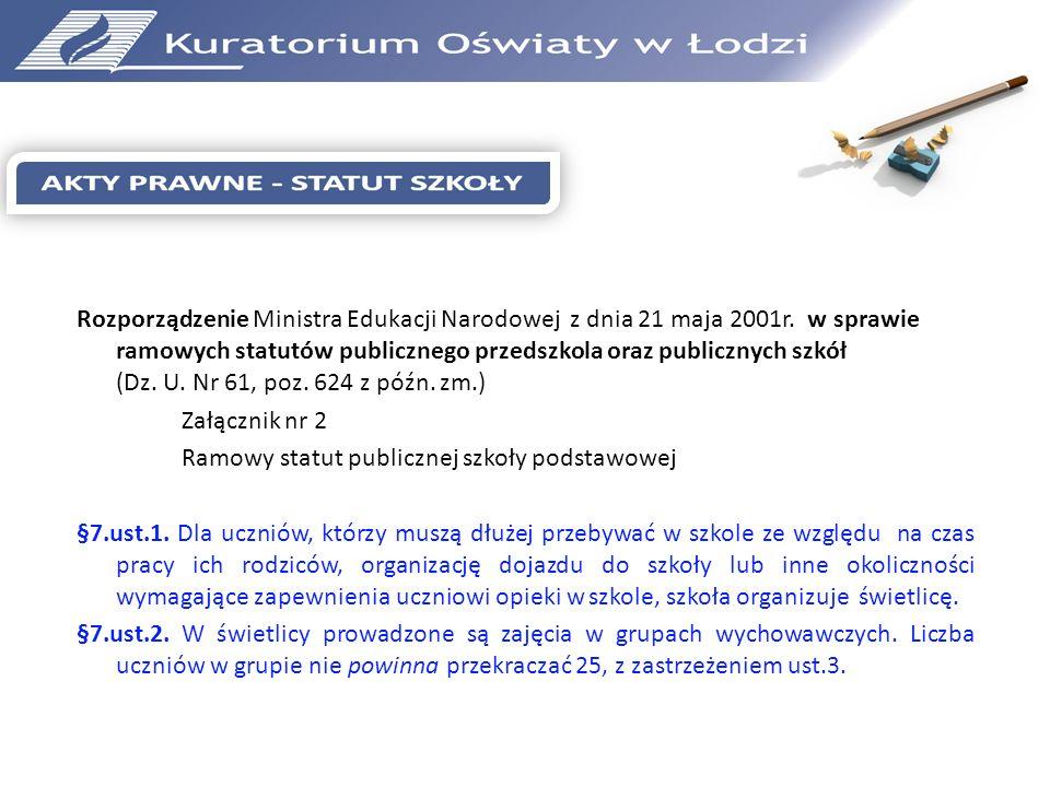 Rozporządzenie Ministra Edukacji Narodowej z dnia 21 maja 2001r. w sprawie ramowych statutów publicznego przedszkola oraz publicznych szkół (Dz. U. Nr