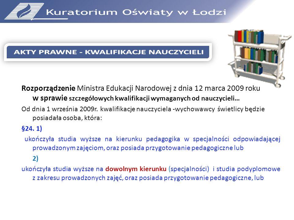 Rozporządzenie Ministra Edukacji Narodowej z dnia 12 marca 2009 roku w sprawie szczegółowych kwalifikacji wymaganych od nauczycieli… Od dnia 1 wrześni